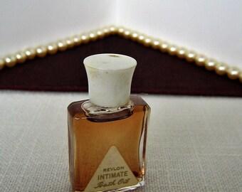 REVLON INTMATE Bath Oil Huille Pour Le Bain Vintage Perfume Bottle Collectible Perfume Miniature Perfume Bottles Mini 1960s Flacon Dram