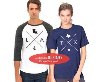 All States and Washington DC Tri Blend T-Shirt or 3/4 Sleeve Raglan Baseball Shirt - Unisex Tee or Baseball Shirt Size XS S M L XL 2XL