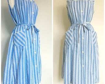 Vintage BLUE & WHITE PRINTED Cotton Day Dress/size Small-Medium