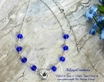Silver Mobius Necklace for Her, Womens Blue Necklace, Mobius Rose Necklace, Chainmaille Jewelry, Jewelry Gift Ideas for Women, Gift for Her