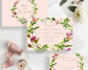 Spring Wedding Invites Blush Wedding Invitations floral spring bohemian greenery wedding invitations {Crescent design}
