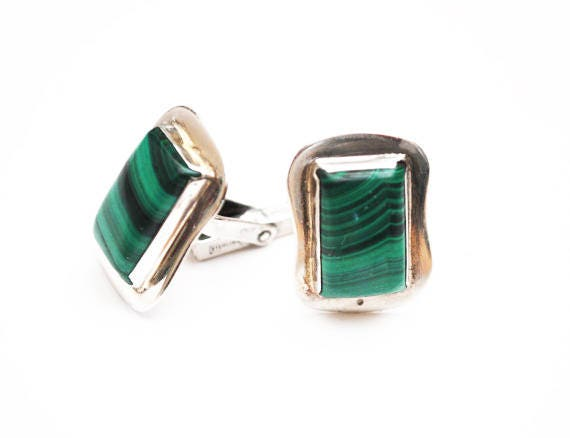 Sterling Malachite Cuff link - Green Gemstone  - Retangle   cufflink