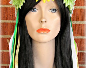 Yellow, Green and White Flower Crown, Floral Crown, Flower Halo, Flower Headband, Floral Headband, Daisy Crown, Flower Wreath, Festivals