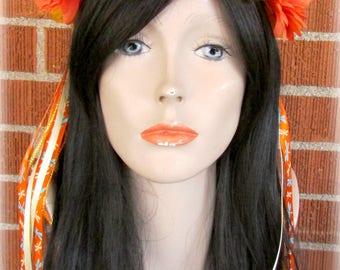 Orange and Yellow Flower Crown, Floral Crown, Flower Halo, Flower Headband, Floral Headband, Daisy Crown, Flower Wreath, Wedding, Festivals