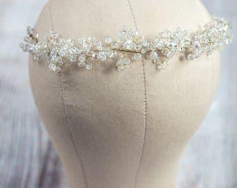 Bridal Hair Vine, Wedding Headband, Boho Headpiece, Crystal Hair Vine, Pearl and Crystal Headpiece, Bridal Crown