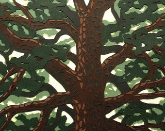 Tree Paper Art - Paper Cut Art - Tree Branches, Paper Art, Leafy Branches, Layered Paper, Tree Boughs, Cut Paper