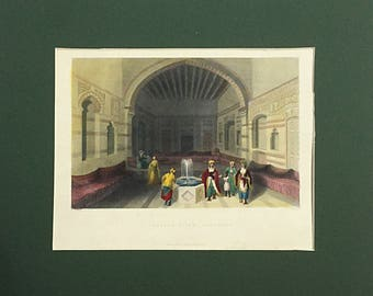 1837 Print A Turkish Divan, Damascus, W H Bartlett, Syrian Palace, Turkish Palace Interior, Government Building, Ottoman Architecture,