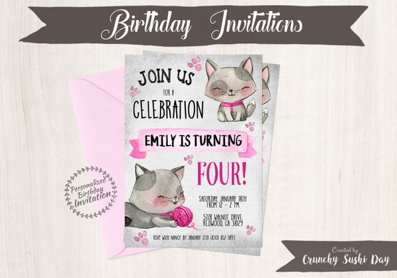 Kitty Customizable Birthday Invitations, Cat Birthday, Kitten, Girl Birthday, DIY, Printable Invitations, Pink, Cute Kitty 051