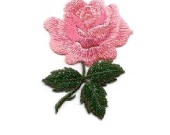 Rose - Flower - Garden - Single Pink Rose - Love - Embroidered Iron On Applique Patch