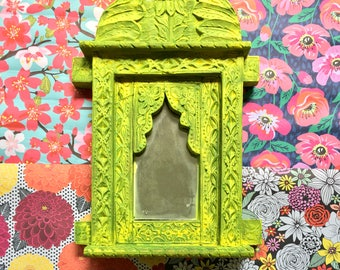 Lemon Lime Green Painted Moroccan Wooded Mirror