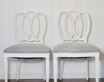 Vintage Triple Oval Back Wooden Pair of Chairs Gray Tweed Upholstery Hollywood Regency French Provincial