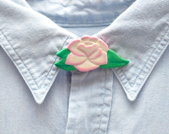 80s Pink Flower Button Cover Wooden Hand Painted Charm
