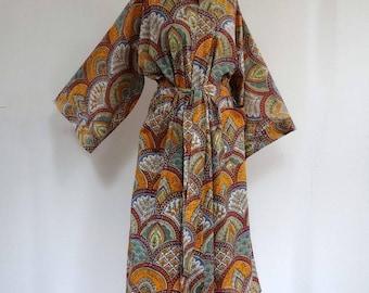 Kimono gown orange, purple and multicolor designs sky look