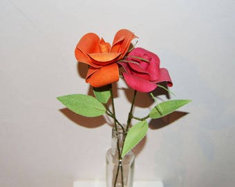 Paper Roses in a glass bottle, red and orange handmade paper flowers