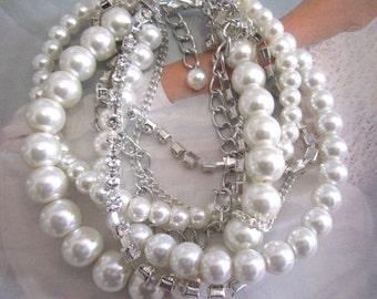 Pearl and Rhinestone Bridal Bracelet, Statement Bracelet, Chunky Wedding Jewelry Layered Multi Strand Bracelet Twisted Pearl and Crystal