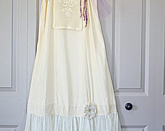 Women's Upcycled Romantic Shabby Mori Girl Slip Dress Size Small Reloved Clothing Co.