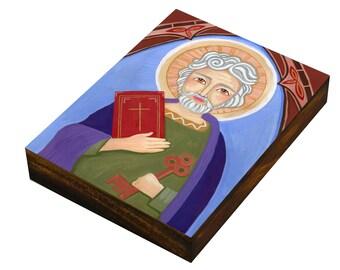 "Saint Peter the Apostle Fine , Print mounted on Wood (size 3.5 x 4.7"", 8.9 x 12 cm), Christian, Catholic, Mixed Media, Wall Decore by Evona"