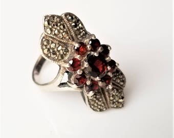 Sterling Silver, Garnet, & Marcasite Ring SIZE 7.75, Victorian Style Art Deco