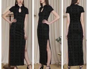 slinkiest vintage 80s/90s stretch flocked velvet cheongsam maxi dress