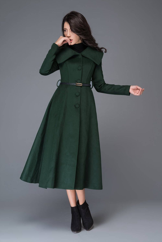Swing coat womens coats flare coat dress coat navy blue
