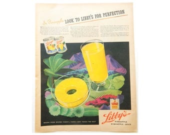 Libby's Pineapple Juice Ad - Vintage Magazine Advertising - Ads for Kitchen Wall Art