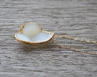 Druzy Necklace, Gold Druzy Necklace, Gold Necklace, Gold Edged Druzy, Mineral Necklace, Natural Druzy Necklace, Gemstone Necklace