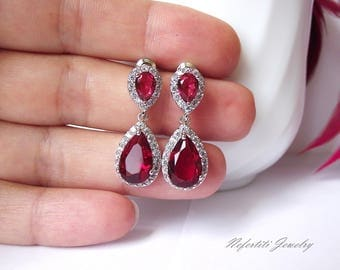 ruby earrings wedding earrings ruby red bridal earrings crystal drop earrings ruby red bridesmaid earrings red cubic zirconia earrings