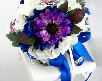 Blue And Purple Bouquet Wedding Flowers Bouquets White Rose