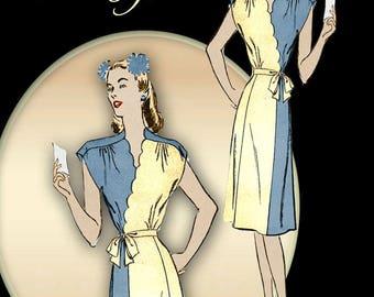 Swing Era Dress Pattern Mock Wrap Dress with Surplice Bodice Paneled Skirt Cap Sleeves Scallop Details * Plus Size Bust 38 Advance 3951
