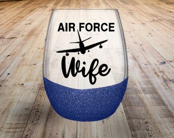 Air Force Wife Stemless Wine Glass