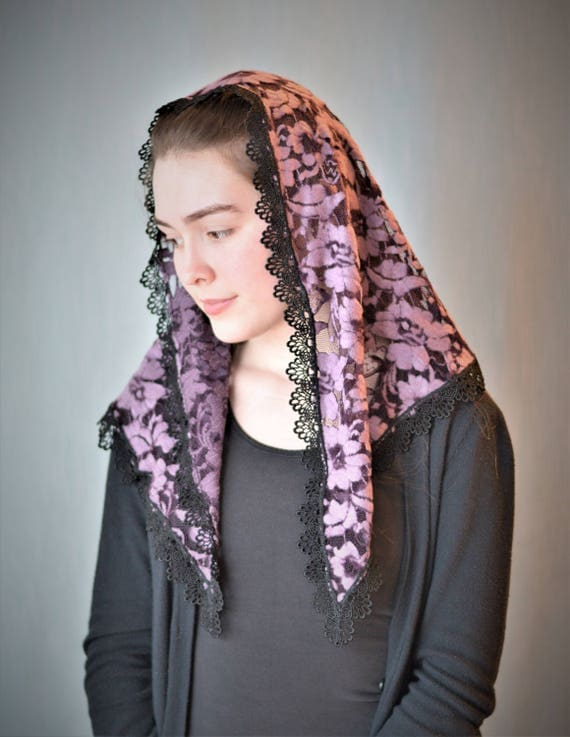 Purple and Black Chenille Chapel Veil | Catholic Mantilla Veil for Mass Veil Robin Nest Lane Catholic Chapel Veil Mantilla Veil Purple Veil