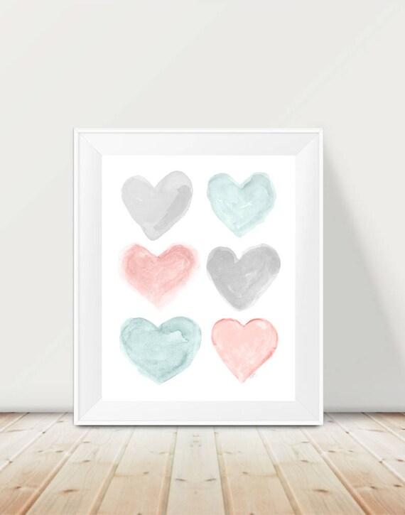 Blush and Teal Baby Nursery Print, 11x14 Hearts
