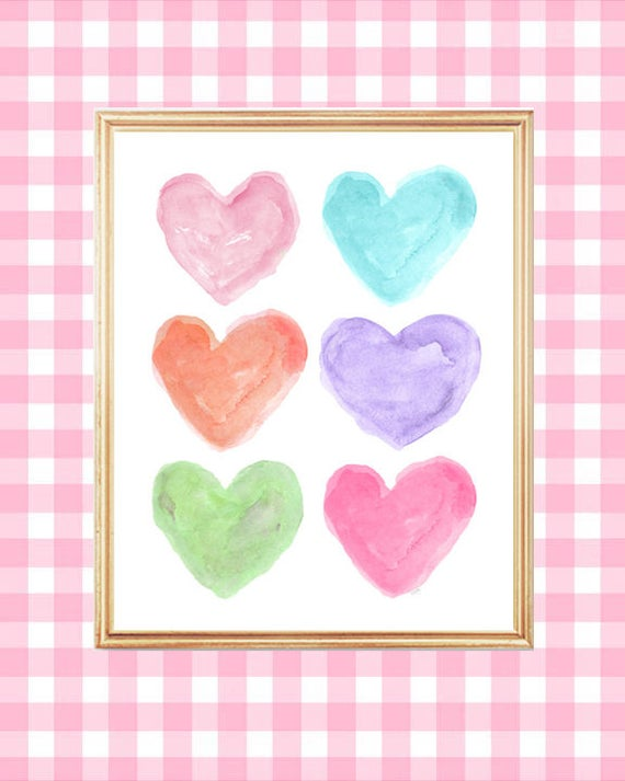 Bright Pastel Print, 8x10 Watercolor Heart Art