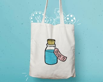 Drink Me Tote Bag: eco friendly shopping bag with magical bottle. Useful & fun gift for childrens toy bag and alice in wonderland enthusiast