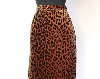 1980s Cheetah Print Pencil Skirt - Rocker Rockabilly Trash Glam - Size 12 - Vegan