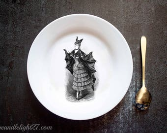 Flying Bat Lady,  Gothic Dining, Gothic Decor, Halloween Decor,Halloween Gift, Halloween decoration, Hand Pressed Plate, Handmade Plate
