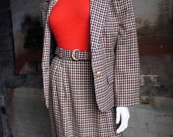 EVAN PICONE 1980's Colourful Checked Wool Suit with Gold Belt Buckle and Buttons