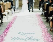 Ivory Wedding Aisle Runner with Custom Monogram Initials - White Canvas-Classic Traditional Wedding Ceremony- Initial Bible Verse