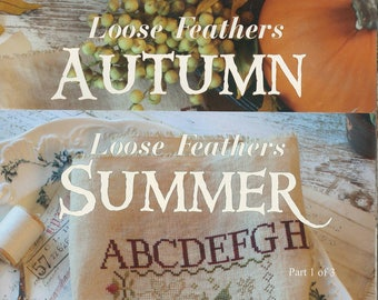 KIT - Loose Feathers Summer, Autumn, Winter by Blackbird Designs - OOP Kitted Cross Stitch Patterns, Set of Three