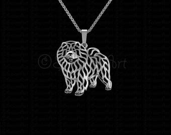 Chow Chow - sterling silver pendant and necklace.