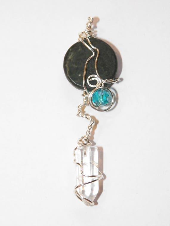 Green Marble & Glass Pendulum Handmade Divination Tool Divination Ritual OOAK