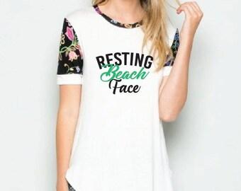 Resting Beach Face Print Floral Black and White Raglan Sleeve Shirt - Womens Tee. Long Length T-Shirt