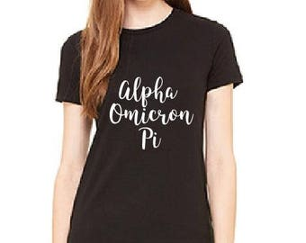 Alpha Omicron Pi- Sorority Sisters Shirts - Ladies T-shirt - Womens Tee.
