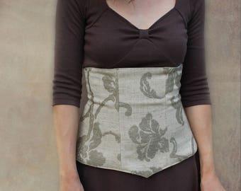 beige/sand damask Gilda waist cincher.