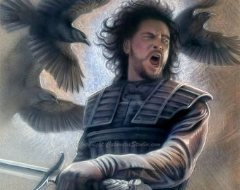 Jon Snow with Crows Artist Signed 11x14 Print