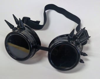Black Spiked Steampunk Goth Goggles