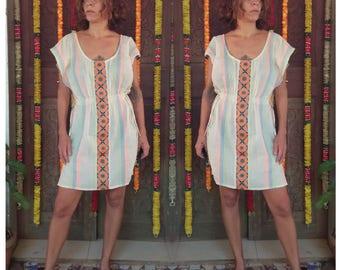 Loose Midi Dress, Midi Tunic Dress, Open Sleeve Dress, Summer Light Dress, White Dress Boho, Bohemian Dress, Oversize Dress, Loose Fit Dress