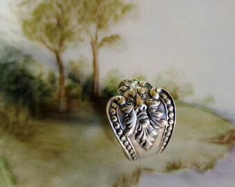 Green Man Spoon Ring Sterling Silver Spring Woodland Nature Forest Unique Gift Idea