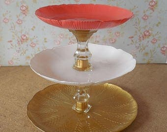 3 Tier Cupcake Stand / Ready to Ship / Wedding Cake Stand / Coral White Gold / 3 Tier Cake Stand / Dessert Tower