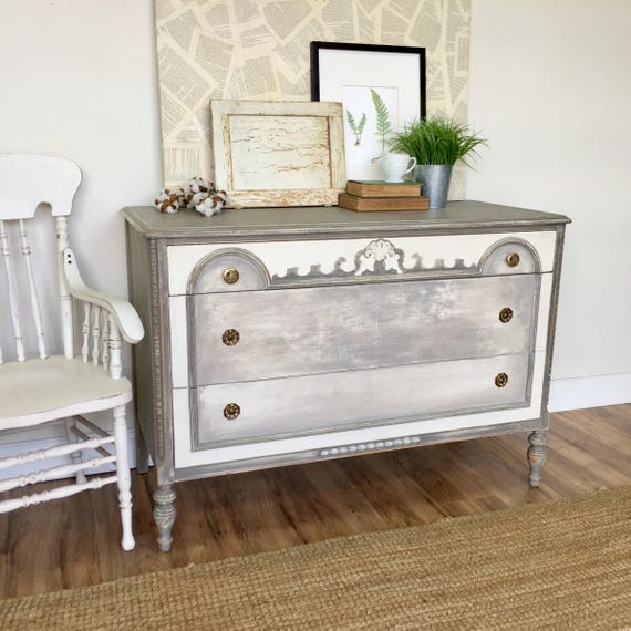 Shabby Chic Dresser - Farmhouse Furniture - Grey Dresser, 1920s Furniture - Rustic Dresser, Gray Chest of Drawers, Vintage Painted Furniture